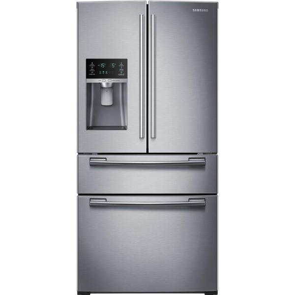 Samsung RF25HMEDBSR - Refrigerator/freezer - freestanding - width: 32.8 in - depth: 36.5 in - height: 70 in - 24.7 cu. ft - french style with ice & water dispenser - stainless steel