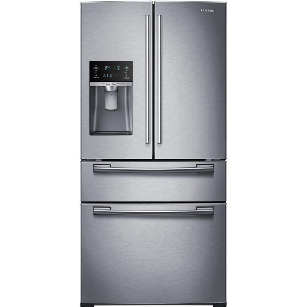 33 in. W 24.73 cu. ft. 4-Door French Door Refrigerator in Stainless Steel