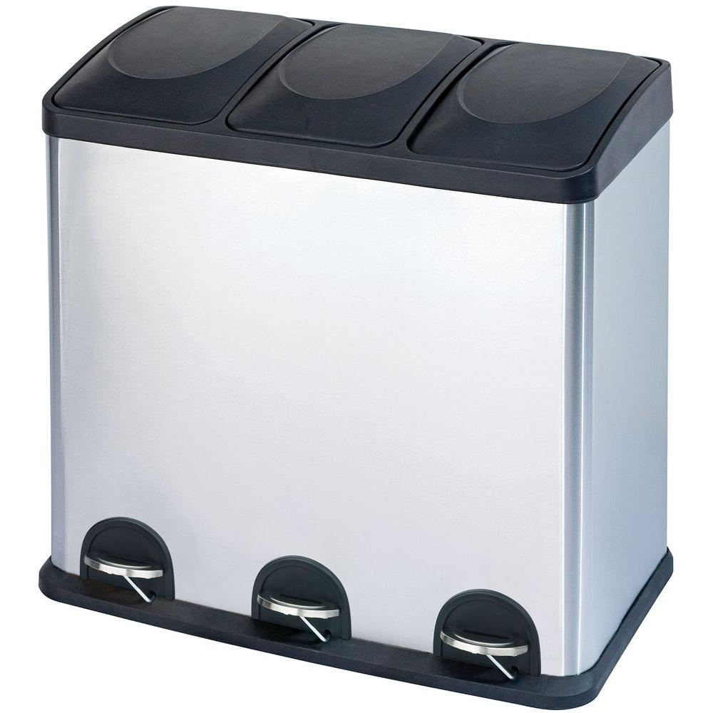 Superieur 16 Gal. 3 Compartment Stainless Steel Trash And Recycling Bin