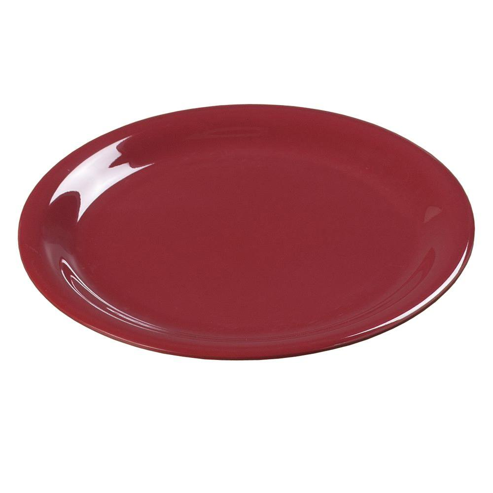 9 in. Diameter Melamine Narrow Rim Dinner Plate in Roma Red