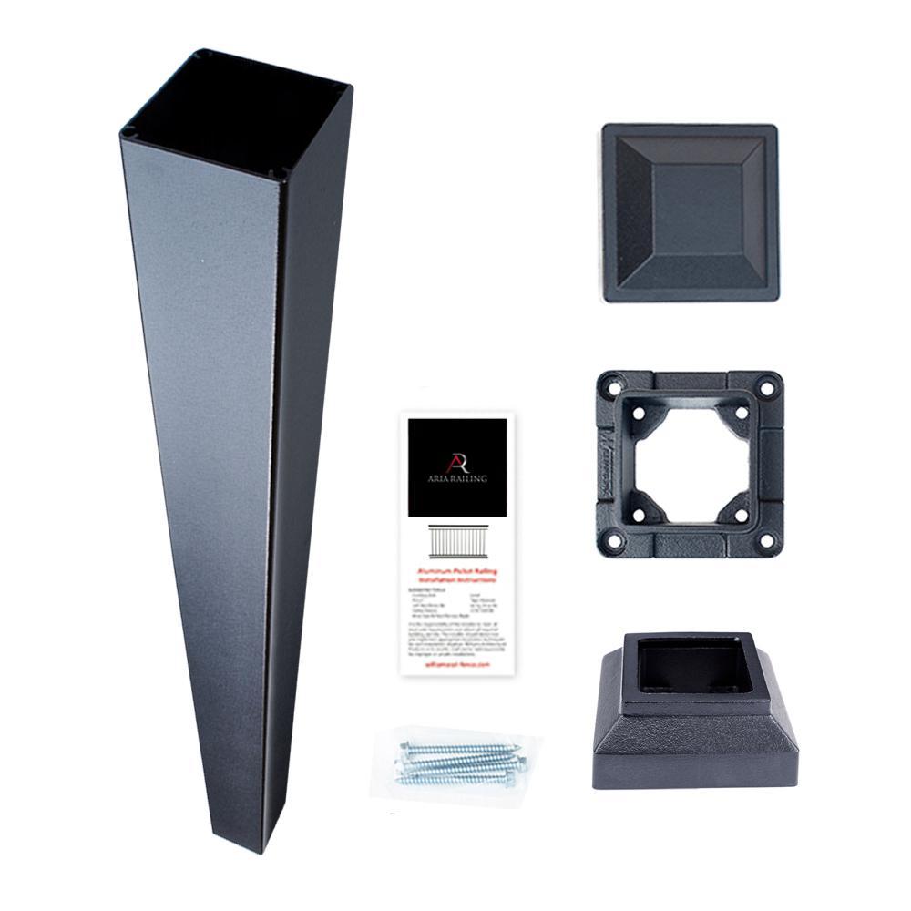 3 in. x 3 in. x 42 in. Black Powder Coated Aluminum Deck Post Kit