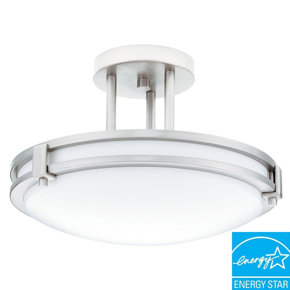 Lithonia Lighting Saturn 1 Light Brushed Nickel Fluorescent Decorative Semi Flush  Mount Light