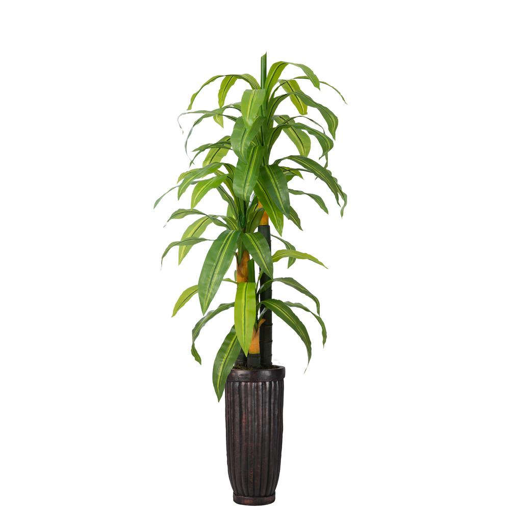 VINTAGE HOME 73 in. Real Touch Corn Plant in Fiberstone Planter-VHX139214 -  The Home Depot