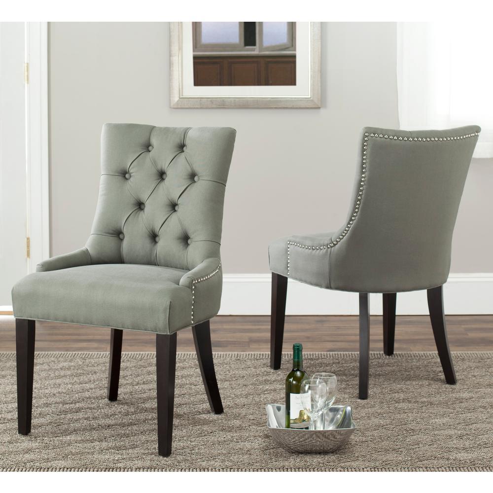Abby Sea Mist/Espresso Linen Side Chair (Set of 2)
