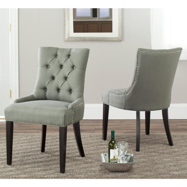 Safavieh Abby Sea Mist/Espresso Linen Side Chair (Set of 2) MCR4701C-SET2
