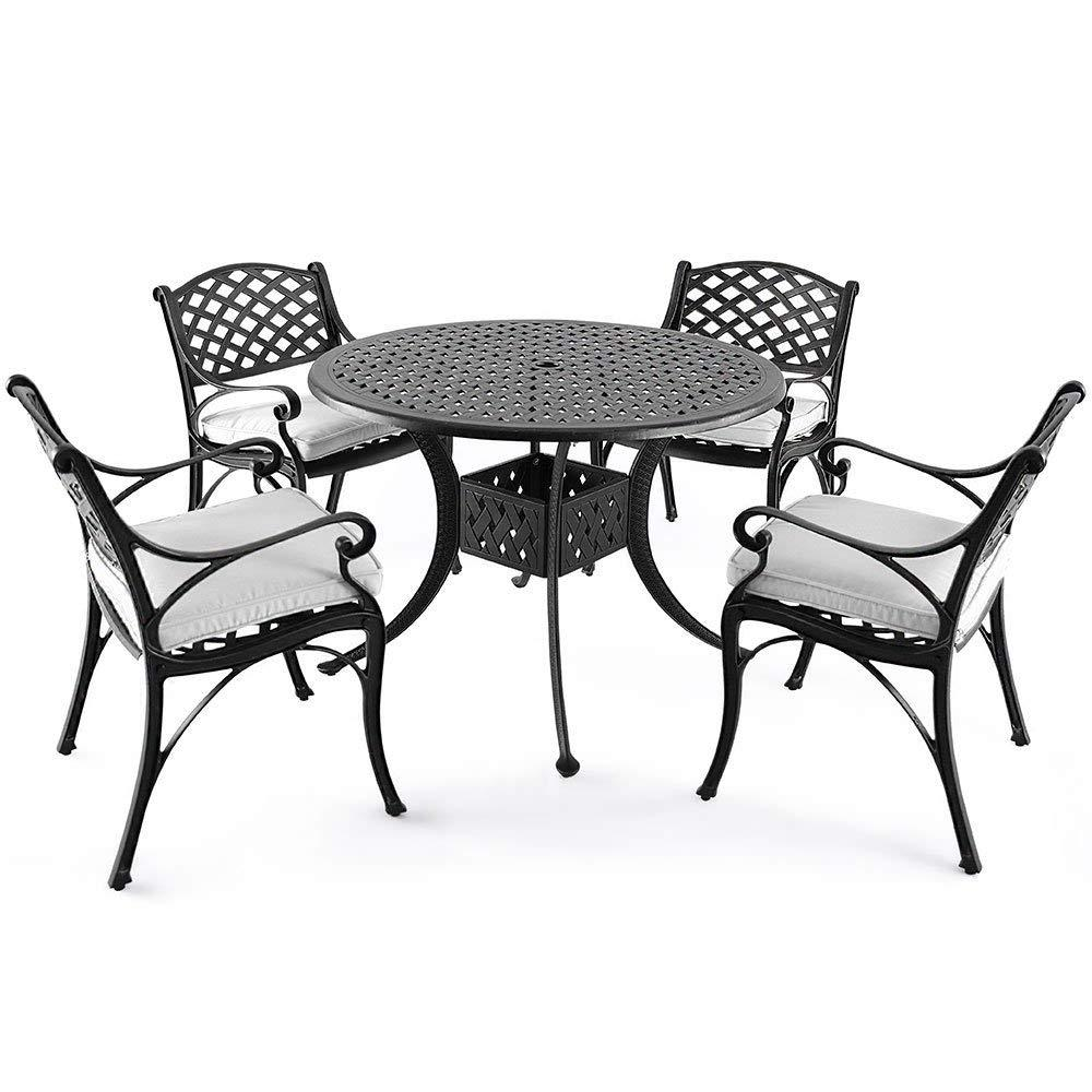 Nuu Garden Dionysus 5 Piece Cast Aluminum Outdoor Dining Set With Beige  Cushion
