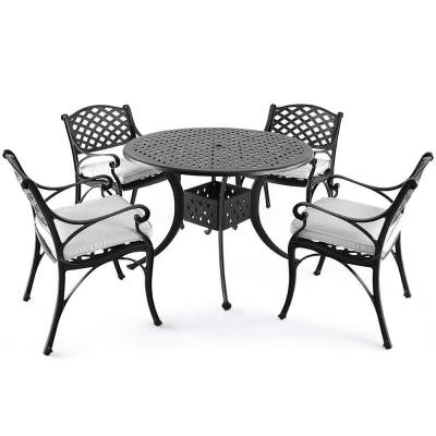 Dionysus 5-Piece Cast Aluminum Outdoor Dining Set with Beige Cushion