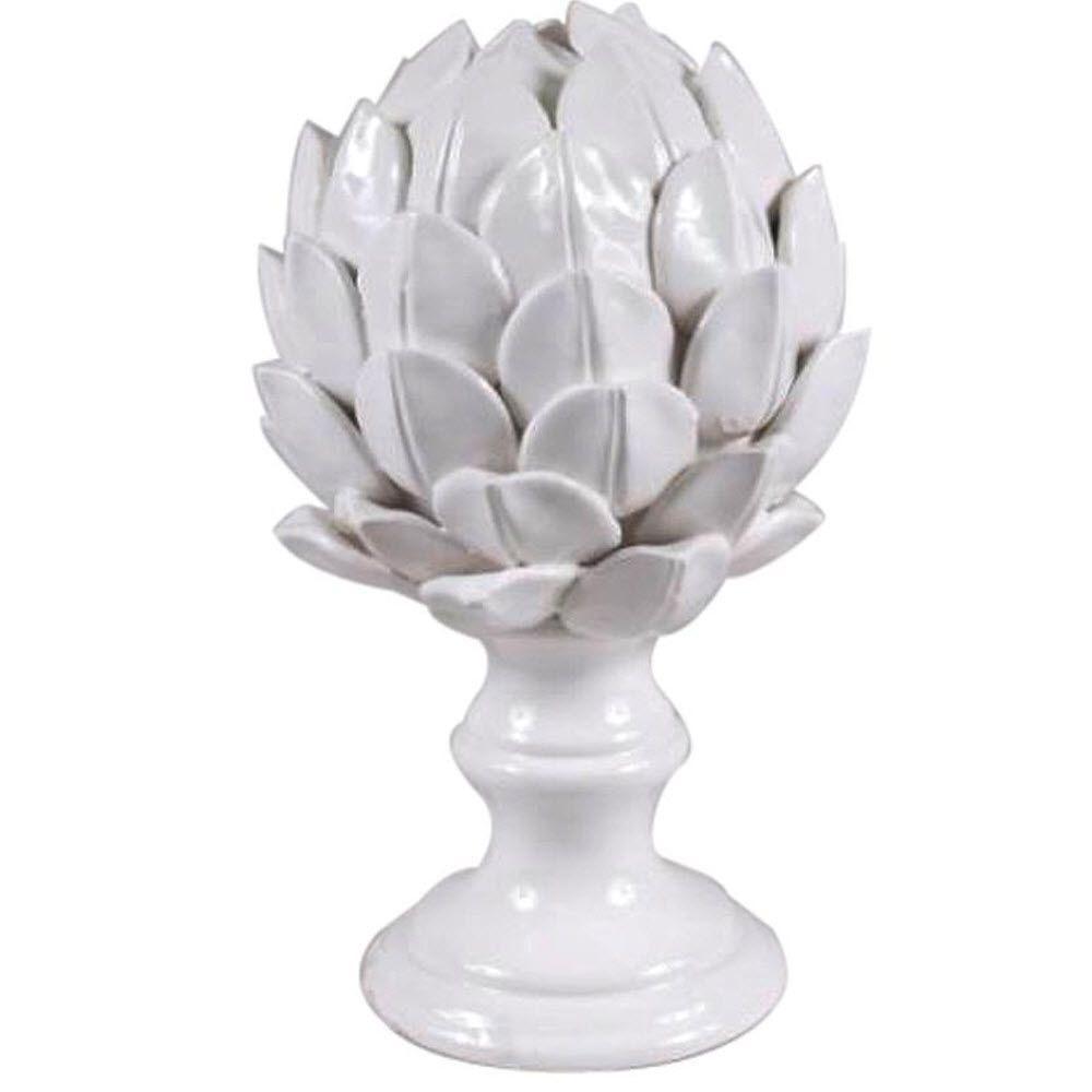 10 in. H Artichoke Finial Decorative Sculpture in White