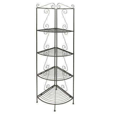 Black Four Tier Foldable Corner Bookcase with Decorative Scrolled Details
