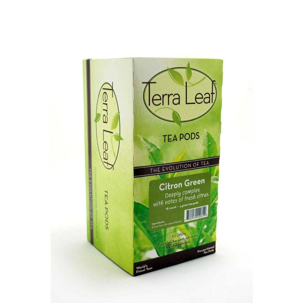 Terra Leaf Citron Green Tea Single Cup Tea Pods, 18-count-DISCONTINUED
