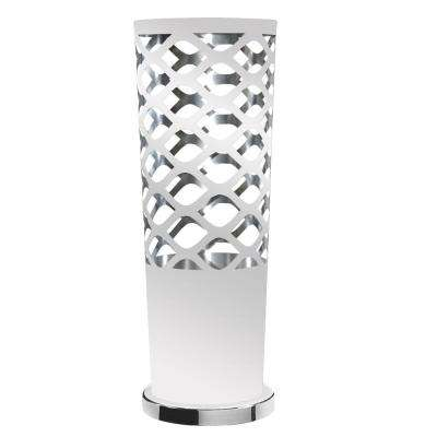 21 in. White on Silver Table Lamp