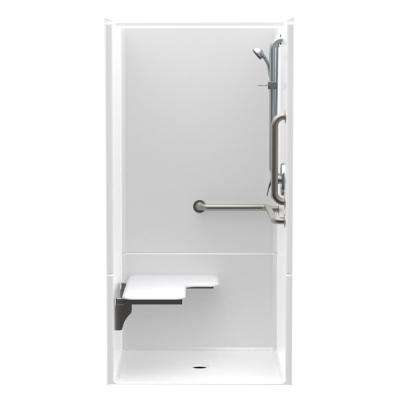 Accessible AcrylX 36 in. x 36 in. x 75 in. 2-Piece ANSI Shower Stall w/ Left Seat and Grab Bars in White