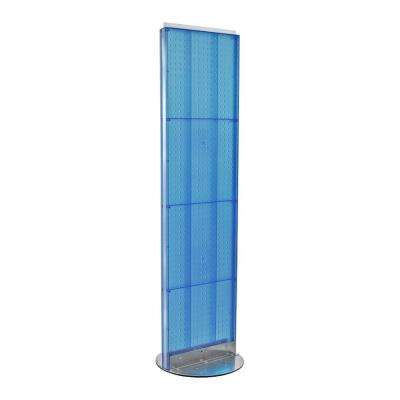 60 in. H x 16 in. W 2- Sided Styrene Pegboard Floor Display on Revolving Base in Blue
