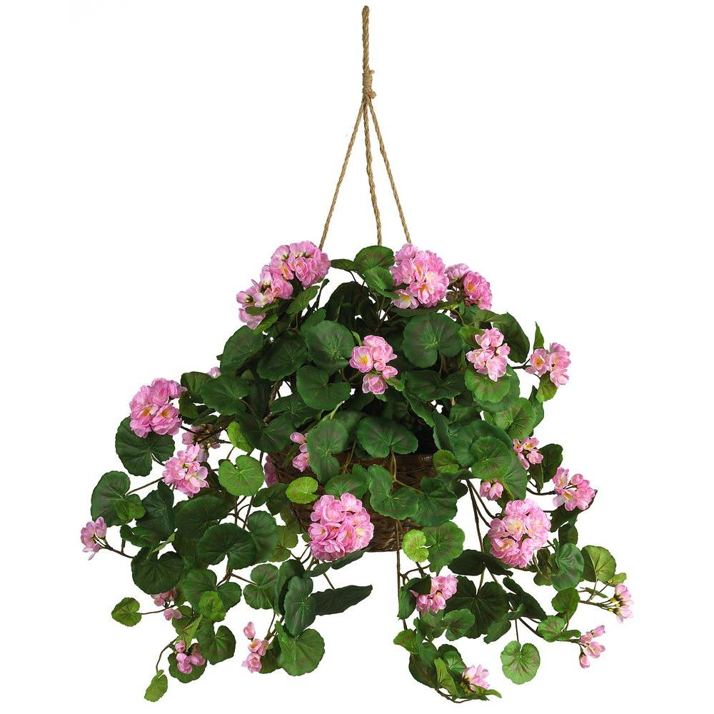 nearly natural silk geranium hanging basket 6609 pk the home depot. Black Bedroom Furniture Sets. Home Design Ideas