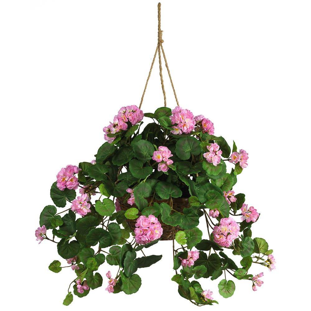 Nearly natural silk geranium hanging basket 6609 pk the home depot nearly natural silk geranium hanging basket mightylinksfo