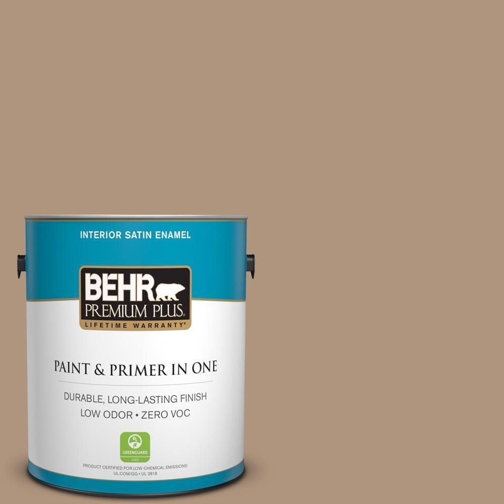 1 gal. #PPU4-04 Soft Chamois Zero VOC Satin Enamel Interior Paint