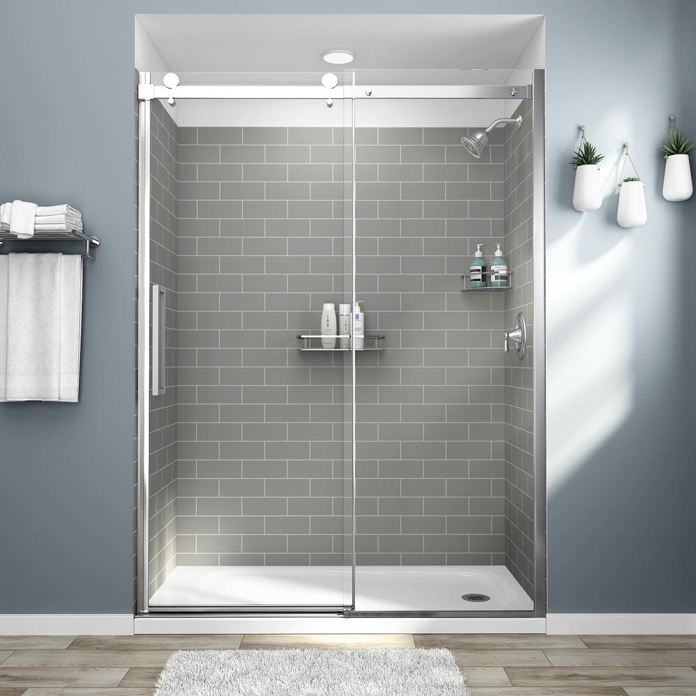 AmericanStandard American Standard Passage 32 in. x 60 in. x 72 in. 4-Piece Glue-Up Alcove Shower Wall in Gray Subway Tile