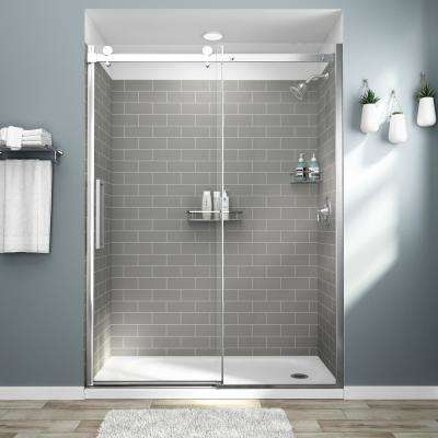 Passage 32 in. x 60 in. x 72 in. 4-Piece Glue-Up Alcove Shower Wall in Gray Subway Tile