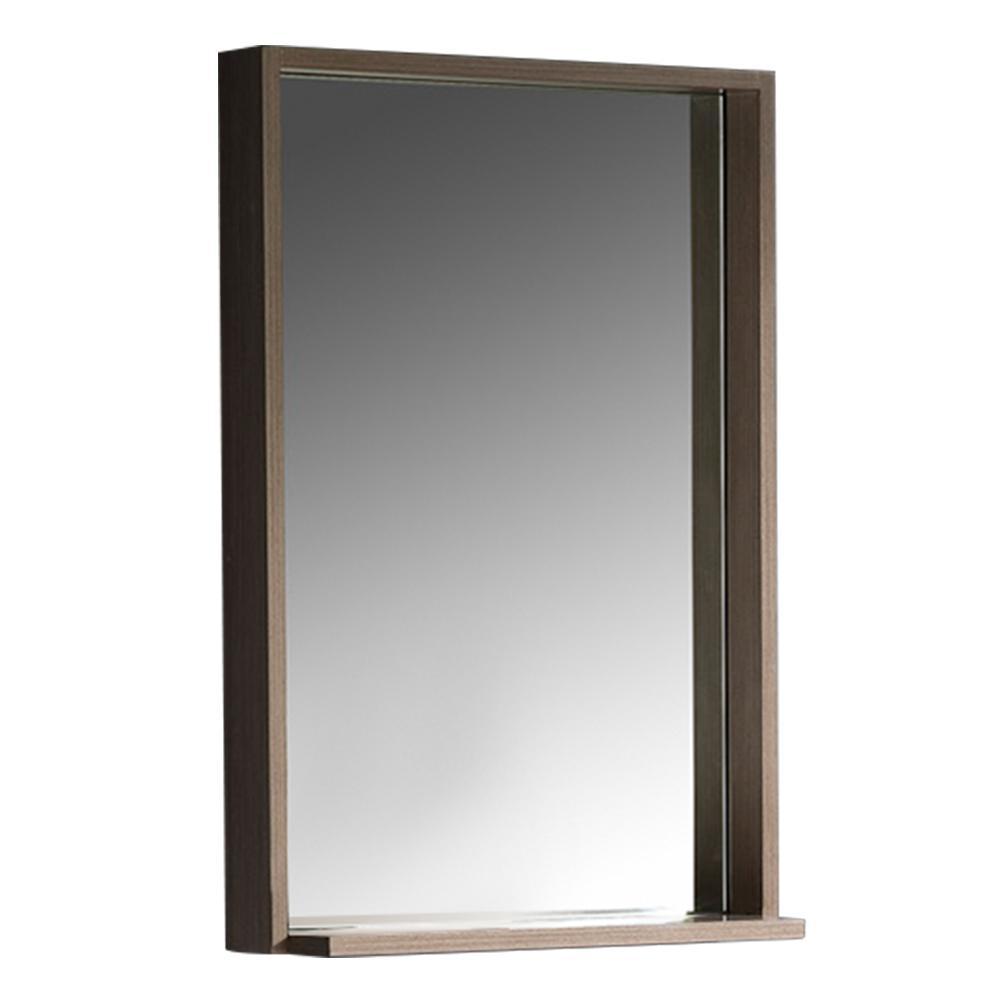 Allier 22 in. W x 31.50 in. H Framed Wall Mirror with Shelf in Gray Oak
