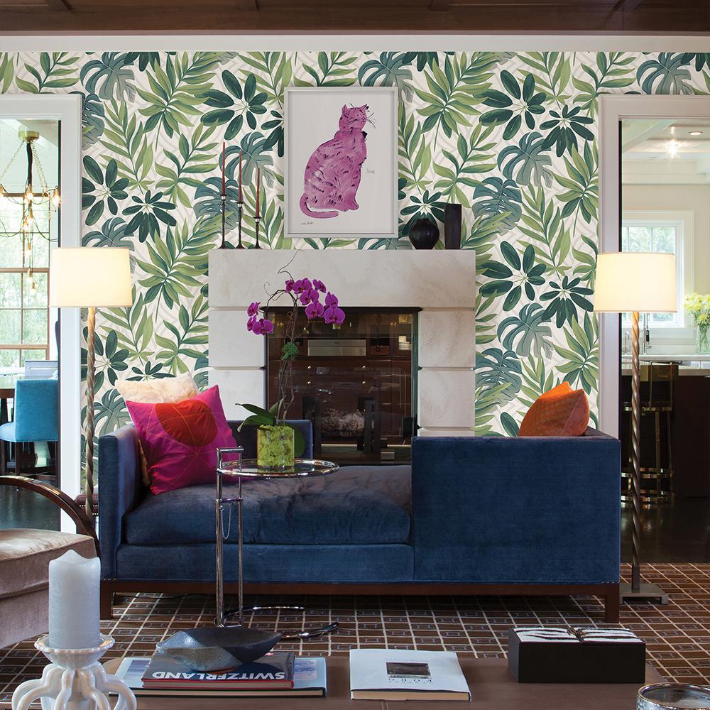 56.4 sq. ft. Nocturnum White Leaf Wallpaper