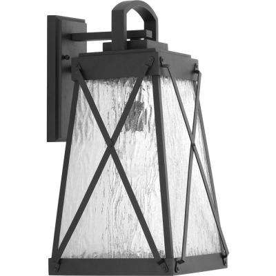 Creighton Collection 1-Light Large Black 19.25 in. Outdoor Wall Lantern