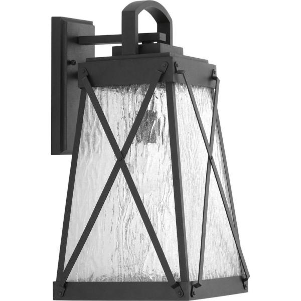 Creighton Collection 1-Light Black 19.25 in. Outdoor Wall Lantern Sconce