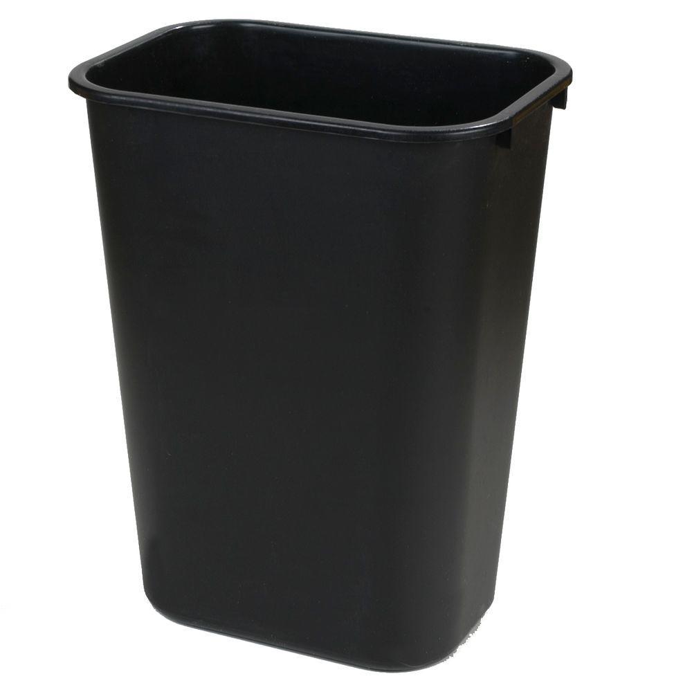 10 Gal. Black Rectangular Office Trash Can (12-Pack)