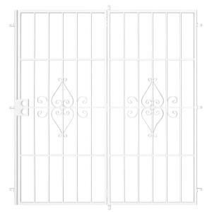 Su Casa 72 in. x 80 in. White Projection Mount Outswing Steel Patio Security Door with No Screen