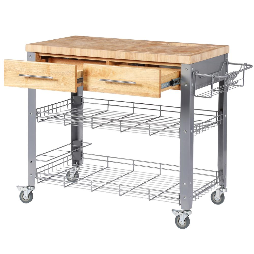 Stadium Natural Wood Kitchen Cart with Storage