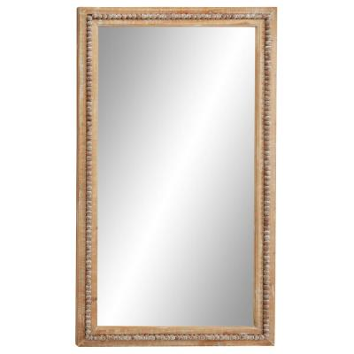 Large Rectangular Whitewashed Wood Wall Mirror with Decorative Wood Beads, 28 in. x 48 in.