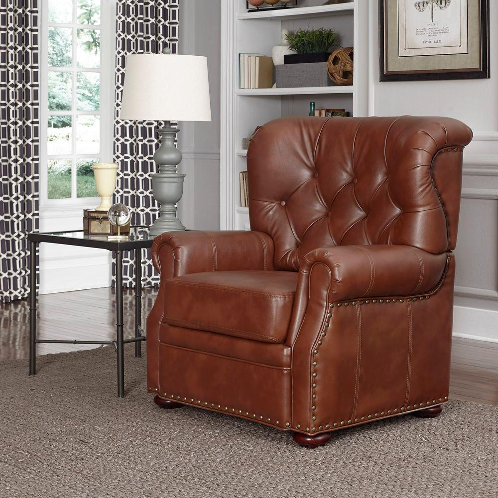 Home Styles Miles Saddle Brown Faux Leather Arm Chair