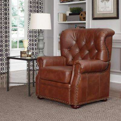 Miles Saddle Brown Faux Leather Arm Chair