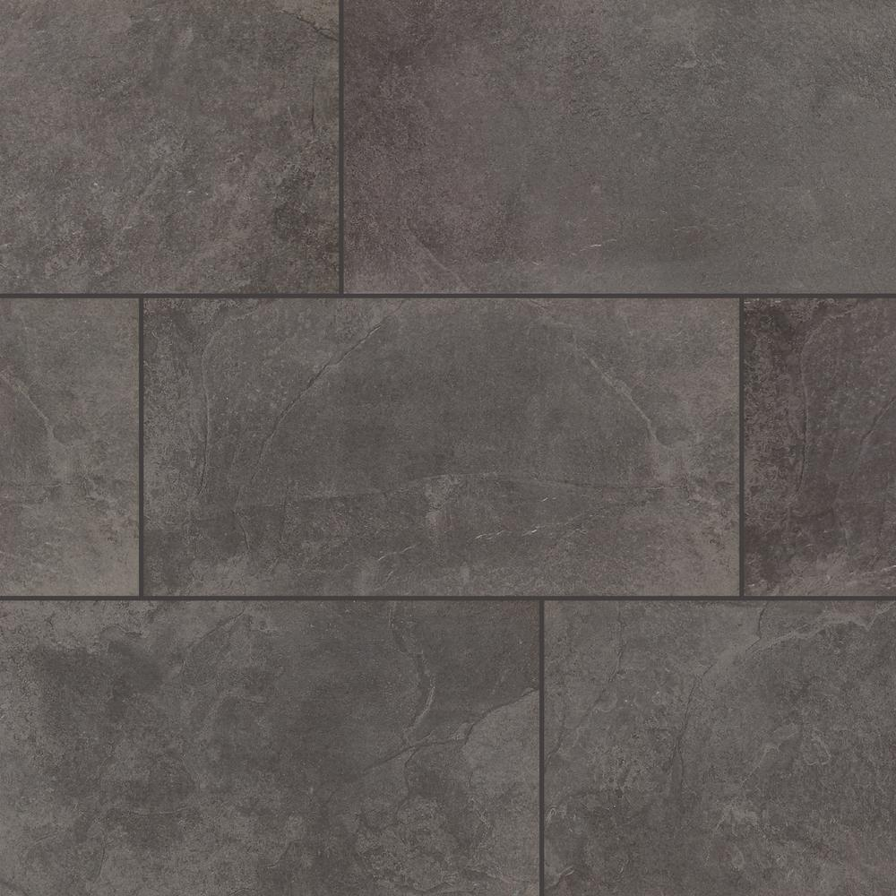 TrafficMASTER Cascade Ridge 24 in. x 12 in. Slate Ceramic Floor and Wall Tile (15.04 sq. ft. / case)