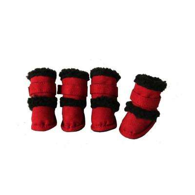 Large Red Shearling Duggz Shoes (Set of 4)
