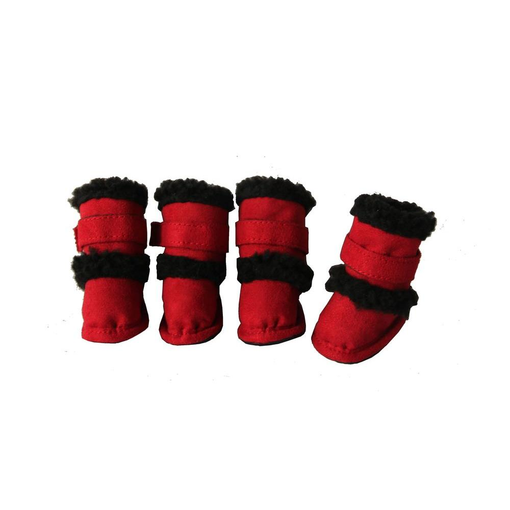 Petlife Duggz Extra Small Snuggly Shearling Red Pet Boots (Set of 4)