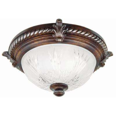 Bercello Estates 15 in. 2-Light Volterra Bronze Flushmount with Etched Glass Shade
