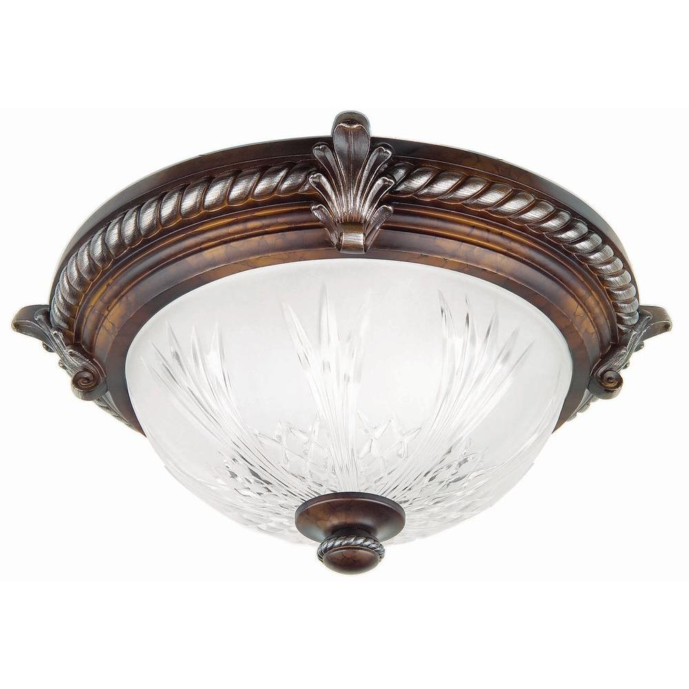 Hampton bay bercello estates 15 in 2 light volterra bronze 2 light volterra bronze flushmount with etched glass shade 08058 the home depot aloadofball