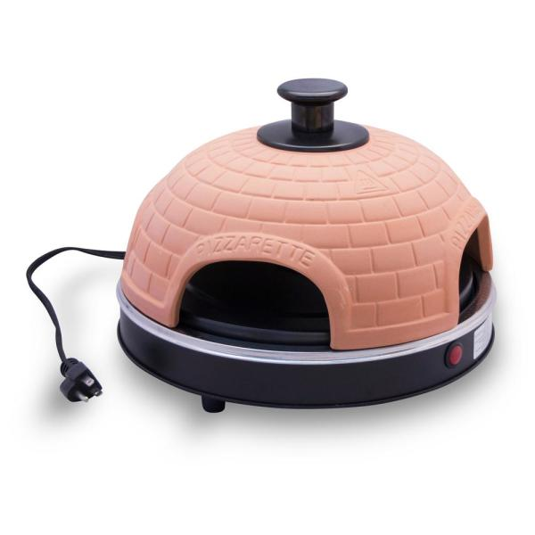 Pizzarette 4 Person Countertop Mini Pizza Oven with Real Terracotta Dome and Dual Heating Elements