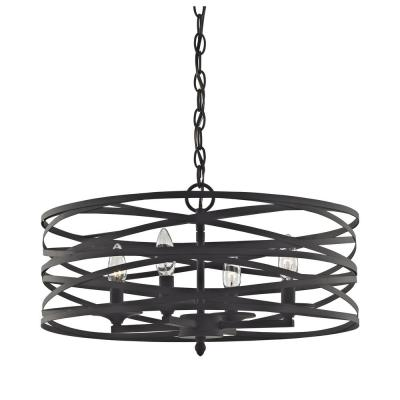 Vorticy 4-Light In Oil Rubbed Bronze Chandelier with Metal Shade