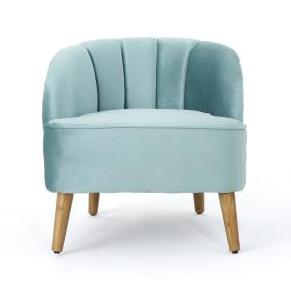 Amaia Seafoam Blue Velvet Upholstered Club Chair