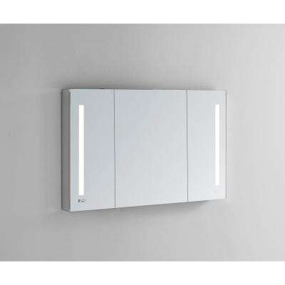 Signature Royale 40 in W x 30 in. H Recessed or Surface Mount Medicine Cabinet with Tri-View Doors and LED Lighting