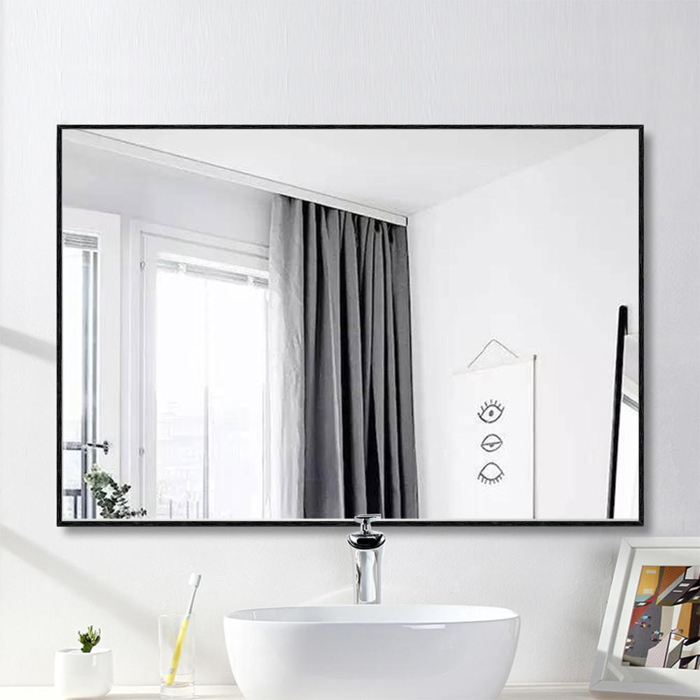 Neu Type Medium Rectangle Black Hooks Contemporary Mirror 36 In H X 24 In W Jj00520aafn 1 The Home Depot