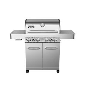 Click here to buy Monument Grills 4-Burner Propane Gas Grill in Stainless with LED Controls, Side and Side Sear Burners by Monument Grills.