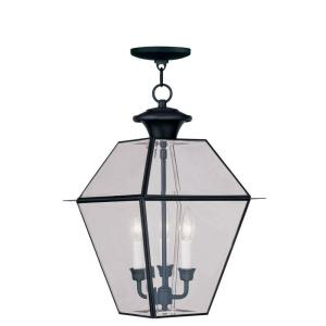Livex Lighting Providence 3-Light Black Outdoor Incandescent Hanging Lantern by Livex Lighting