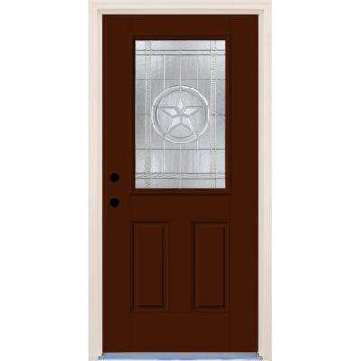 36 in. x 80 in. Right-Hand Texas Star 1/2 Lite Decorative Glass Earthen Fiberglass Prehung Front Door with Brickmould