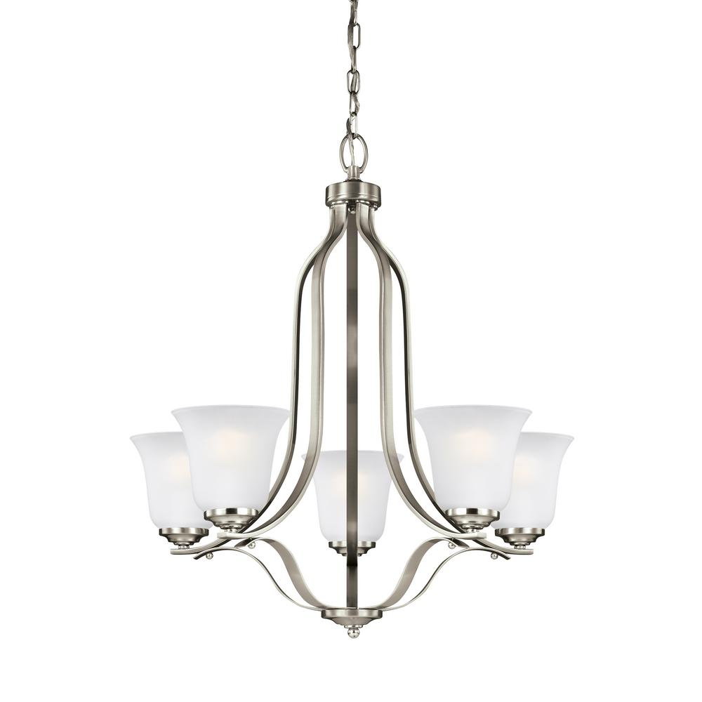 Emmons 5-Light Brushed Nickel Chandelier with LED Bulbs