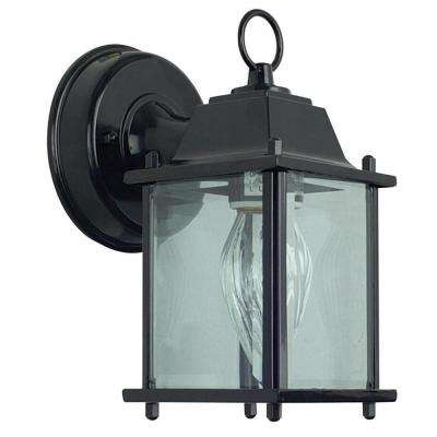 1-Light Black Outdoor Clear Beveled Glass Lantern