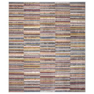 Lorraine Multi-Color 8 ft. x 10 ft. Striped Low Pile Cotton Backed Area Rug