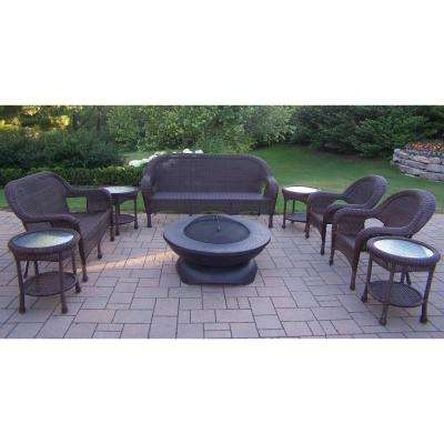 Coffee 9-Piece Wicker Patio Fire Pit Seating Set with Oatmeal Cushions