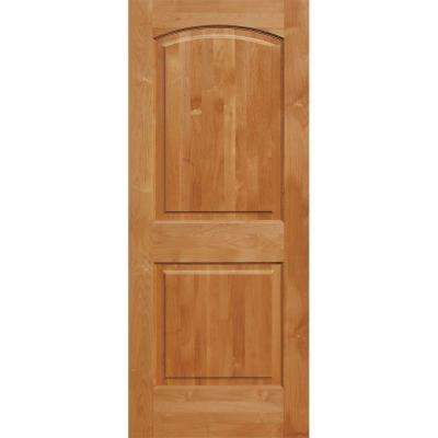 36 in. x 96 in. Superior Alder 2-Panel Top Rail Arch Solid Core Right-Hand Wood Single Prehung Interior Door